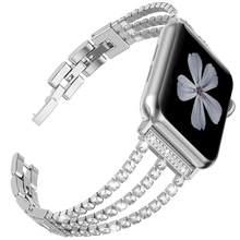 JANSIN Новый женский бриллиантовый ремешок для часов Apple Watch 38 мм 42 мм 40 мм 44 мм iWatch серия 5 4 3 ремешок из нержавеющей стали спортивный браслет(China)