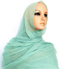 Hot Style Spring Plain Long Scarf Fashionable Light Green Hijab For Muslim Women