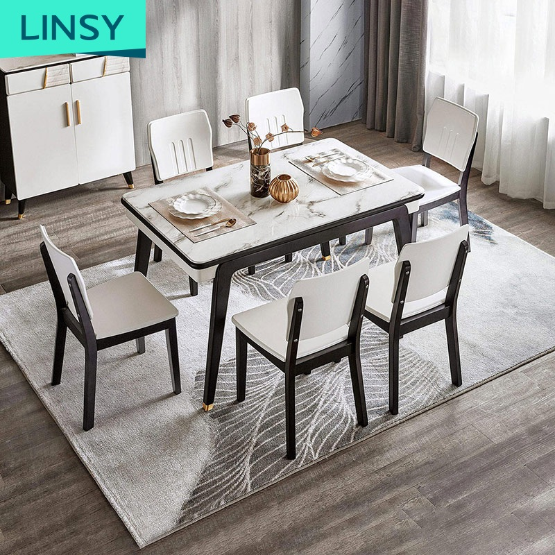 Modern 4 6 Chairs Set Stone Marble Dining Table Chairs Grey 6 Rectangle Dining Room Furniture Home Furniture Wooden Solid Wood Buy Marble Dining Table Rectangle Grey Dining Table Stone Marble Dining Table