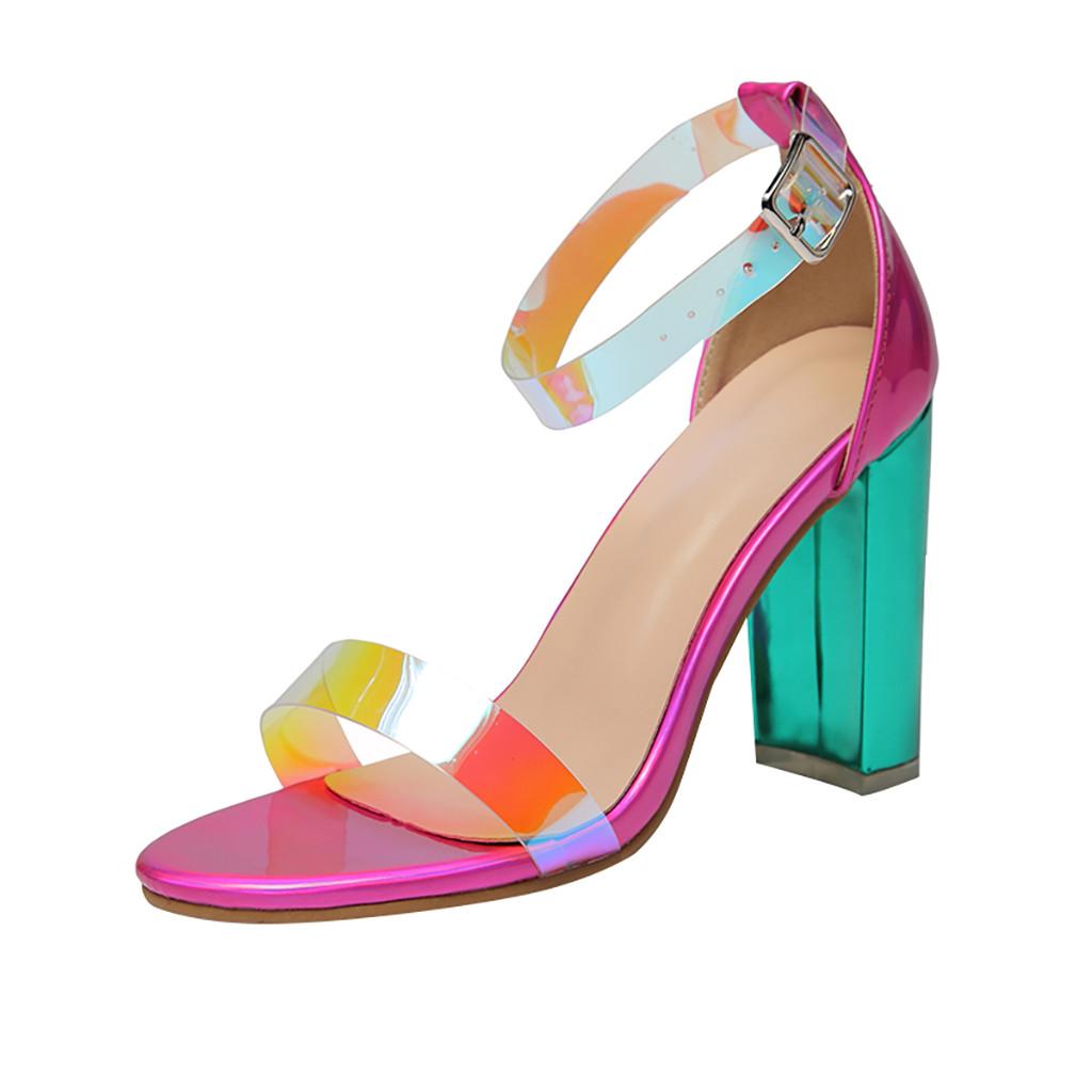 Прозрачная обувь для стриптиза; роскошные женские босоножки на квадратном каблуке; женские разноцветные сандалии с лазером; популярные роз...(Китай)