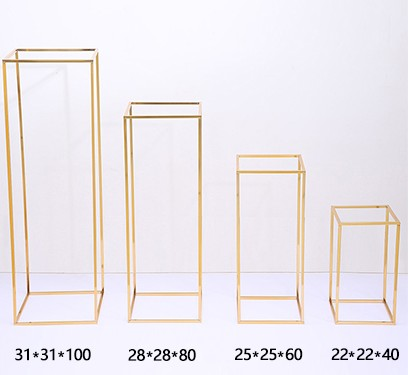 Rectangle Gold Metal Wedding Flower Vase,Flower Stand for Table Centerpiece