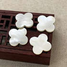 Ready to ship four leaf clover white shell hand carved mother of pearl clover
