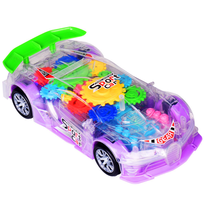 RTS Novelty Electric Toy Flashing Light B/O Transparent Racing Track Universal Concept Car Toy With Music