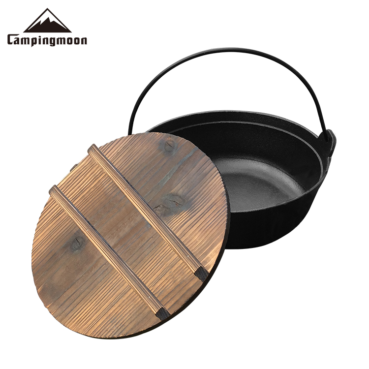 Camping Cookware Cast Iron Stewpot Outdoor Hanging Cooking Campfire Pot With Lid