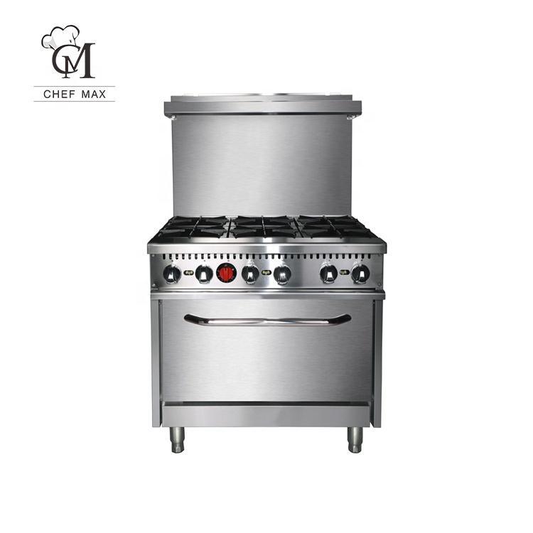 Hot Sale Industrial Kitchen Equipment Restaurant ETL 6 Burner Gas Cooker with Oven