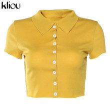 Kliou, высокое качество, женский, простой, тонкий, Одноцветный, ребристый, отложной воротник, короткий топ, 2020, Повседневный, офисный, женский, у...(Китай)