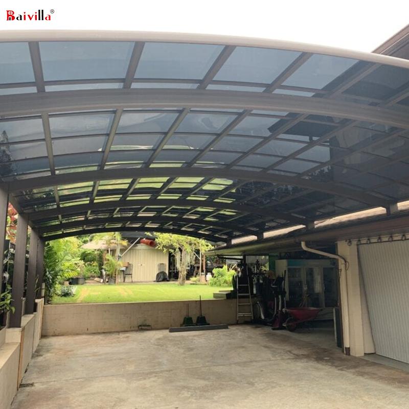 Алюминиевая рама из поликарбоната, укрытие для парковки автомобиля, металлический навес для автомобиля, двойная консоль для гаража