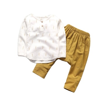 Fashion Korean Style Cotton & Linen Kids Clothes Back To School Cheap Autumn Baby Boys Leisure Suit