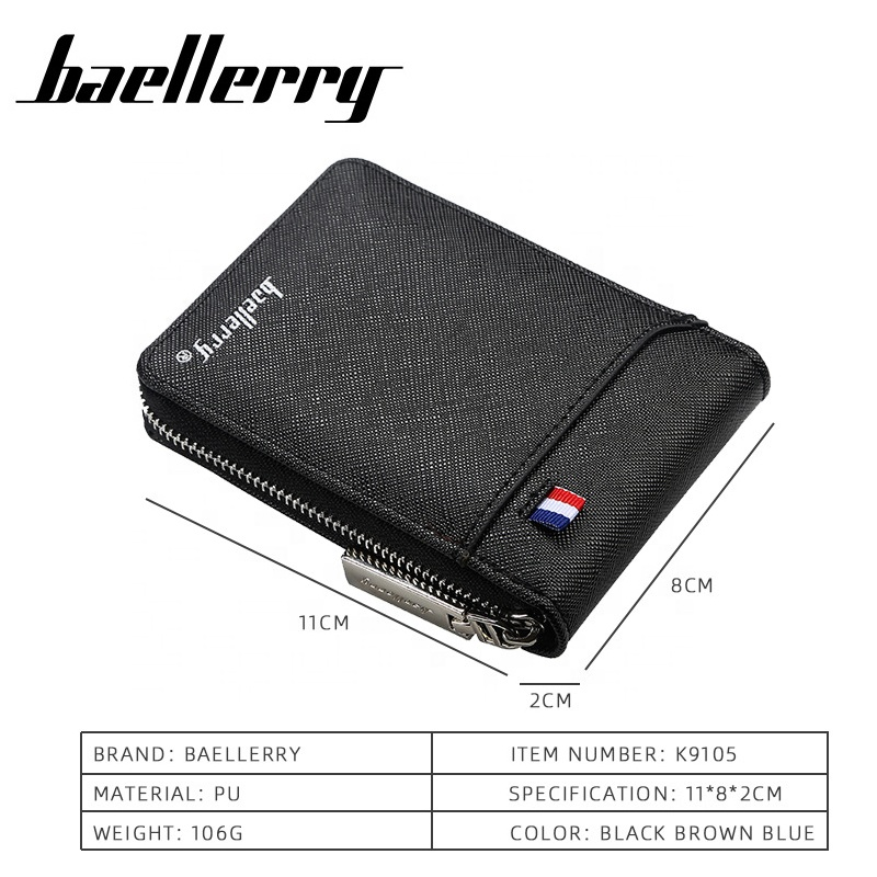 Baellerry Fashion Men's Zipper Card Wallet Hot Leather Coin Purse