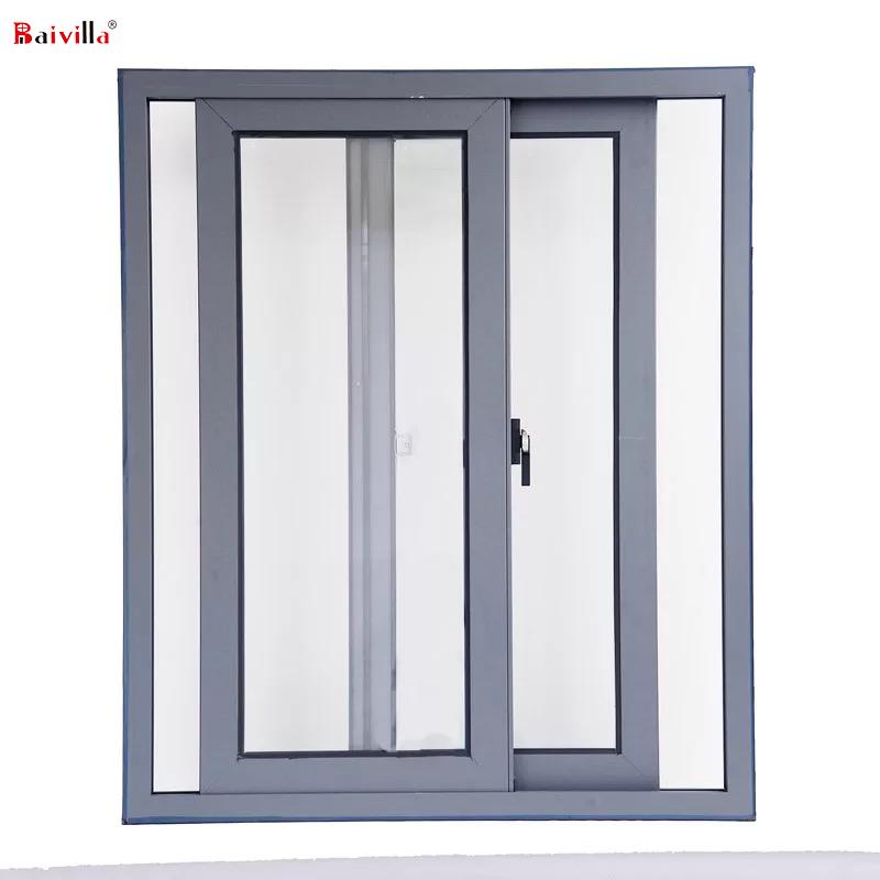 Сделано в Китае, алюминиевое закаленное стекло, раздвижное окно, встроенные поворотные экшн-замки для продажи, Нигерия