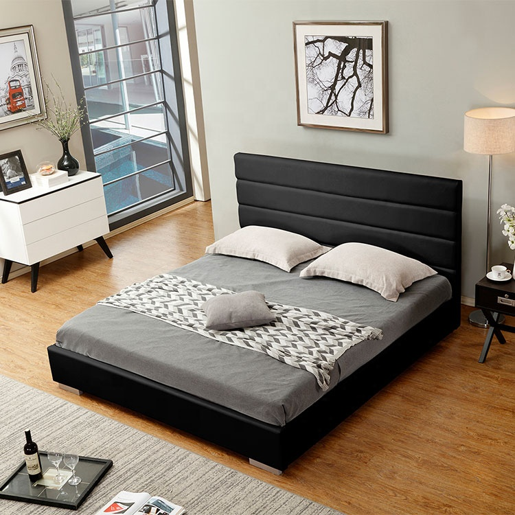 latest modern and simple designs factory wholesale black colour single or double home furniture bed