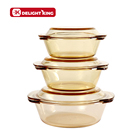 Casserole Casserole With Lid Amber Borosilicate Glass Hot Pots Manufacturer Round Glass Casserole/Supermarket Hot Sale Glass Casserole Dish Pot