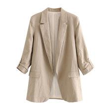 Женский льняной Блейзер KPYTOMOA, винтажный офисный пиджак с подвернутыми рукавами и карманами, верхняя одежда, 2020(Китай)