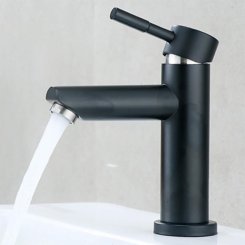 Смеситель для раковины из нержавеющей стали, черный смеситель, кран для ванной комнаты