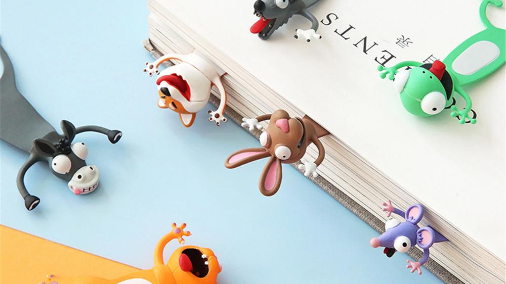 Marcapáginas de dibujos animados estéreo 3D de novedad de Material de PVC, regalos de marcas de libros para niños animales en 3D divertidos marcadores de etiqueta de página de plástico lindo