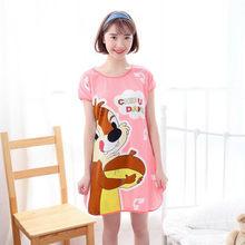 Sanderala женское сексуальное ночное белье с принтом из мультфильма, с круглым вырезом, симпатичное ночное белье, тонкое женское нижнее белье, н...(Китай)