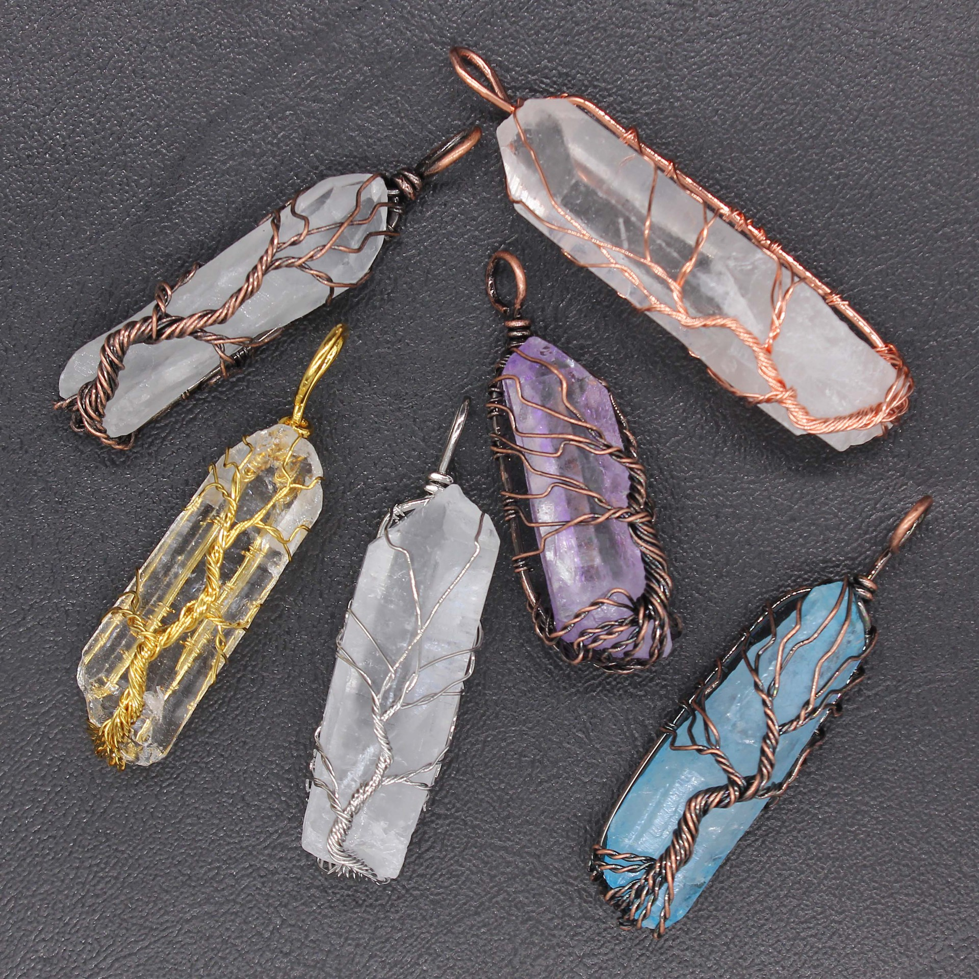 pendentif  métal argenté pierre cristal divers couleur