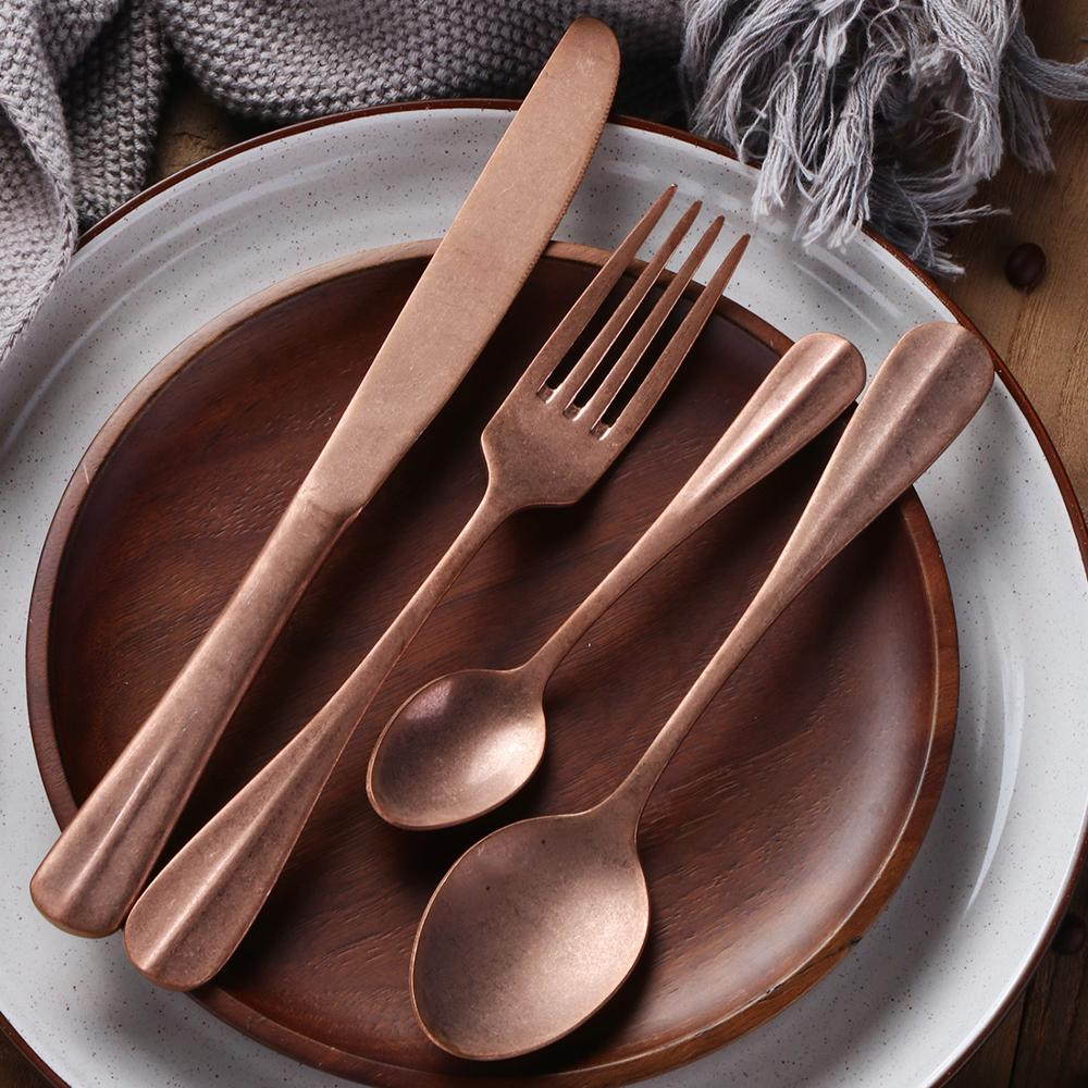 Christmas Favors Matte Copper Stainless Steel Rose gold Cutlery Set