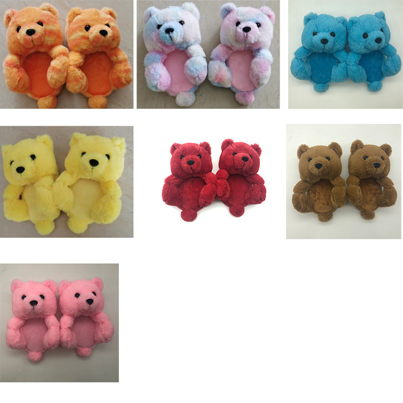 kids teddy bear slippers one size fits all 2021 new arrivals Wholesale Plush fuzzy children toddler teddy bear slippers