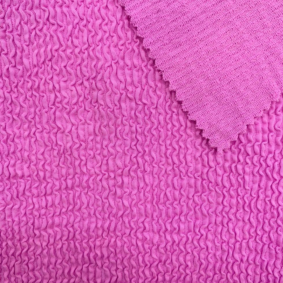Popular knitted crinkle seersucker stretch fabric for swimwear bikini stretched jacquard