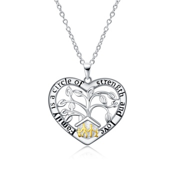 Cubic Zirconia Family Spiritual Tree Gifts Sterling Silver Tree of Life Heart Pendant Necklace