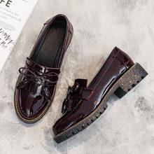 MYLRINA/Женская обувь; Оксфорды; Деловая обувь для работы; Черная обувь на плоской подошве без застежки в стиле ретро; Женская обувь из лакирова...(Китай)