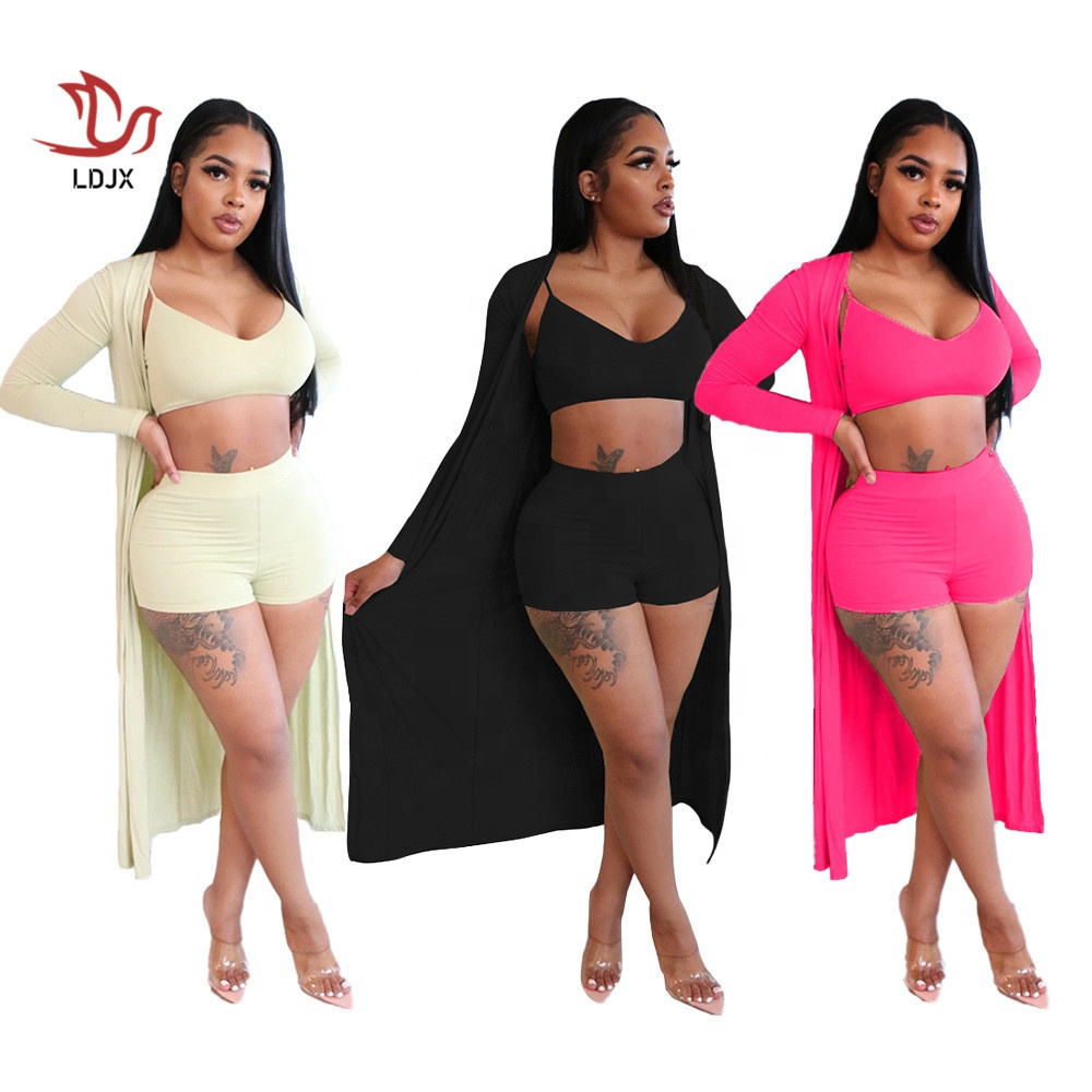 LDJX-C88 Fashion sexy club 3 piece set Fall boutique 3 pieces outfits for women