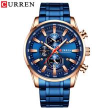 Новый Топ Моды хронограф кварцевые мужские часы CURREN нержавеющая сталь Дата наручные часы мужские светящиеся часы Relogio Masculino(Китай)