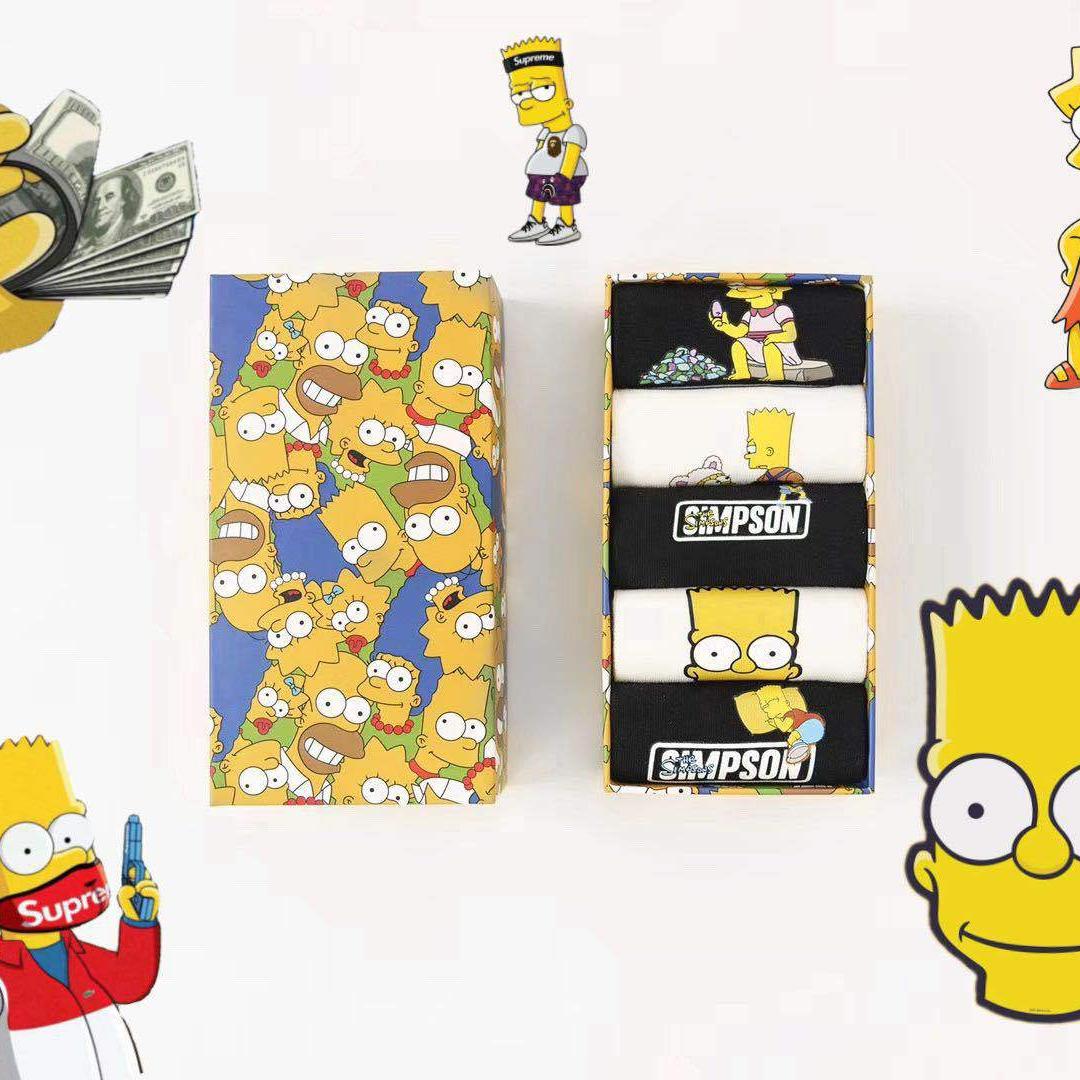Новинка 2021, носки с мультяшным рисунком из мультфильма «Улица Сезам», Симпсоны, Популярные носки с забавной коробкой
