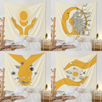 The golden glowing sun and moon print drawing room family ornament custom tapestry