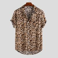 2021 Wholesale Fashion Men Short Sleeve Leopard Printed Loose African Design Hawaiian Beach Shirts