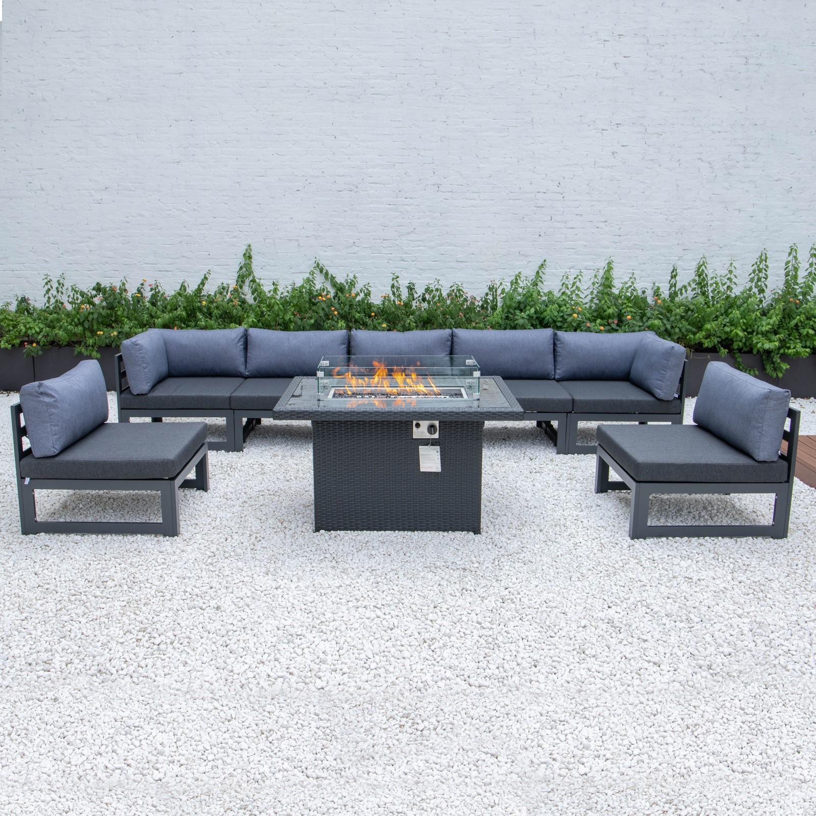 Уличный диван для патио, уличный диван из ротанга, наборы плетеных диванов с огненным столом