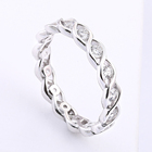 Silverjewelry Sterling Original SilverJewelry Design Wedding Rings Rhodium Plated Braided Sterling 925 Silver Full Eternity Ring Band For Women