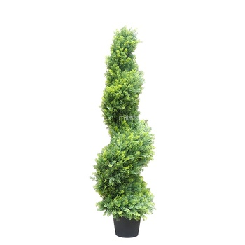 Artificial cypress spiral trees plastic decorative grass plant bonsai with steel pipe trunk UV protected