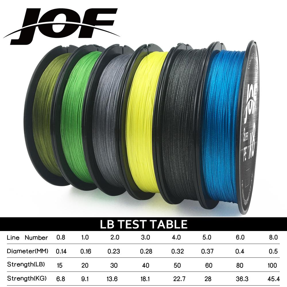 JOF fishing line 100m 8 strand braided fishing line Multifilament pe fishing line12LB-100LB