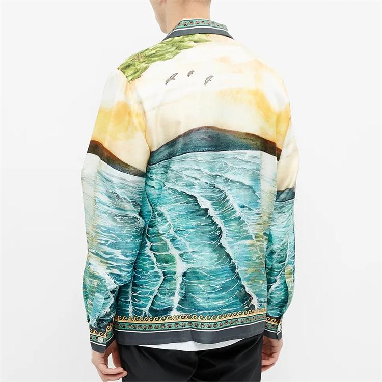 OEM Custom luxurious camp collar long sleeve all over print 100% silk shirt for men