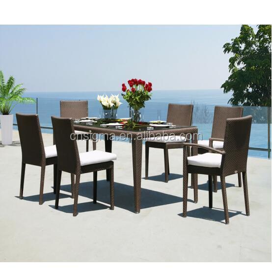 Набор уличных обеденных столов, 6 мест, садовая мебель из ротанга, плетеные комплекты для столовой
