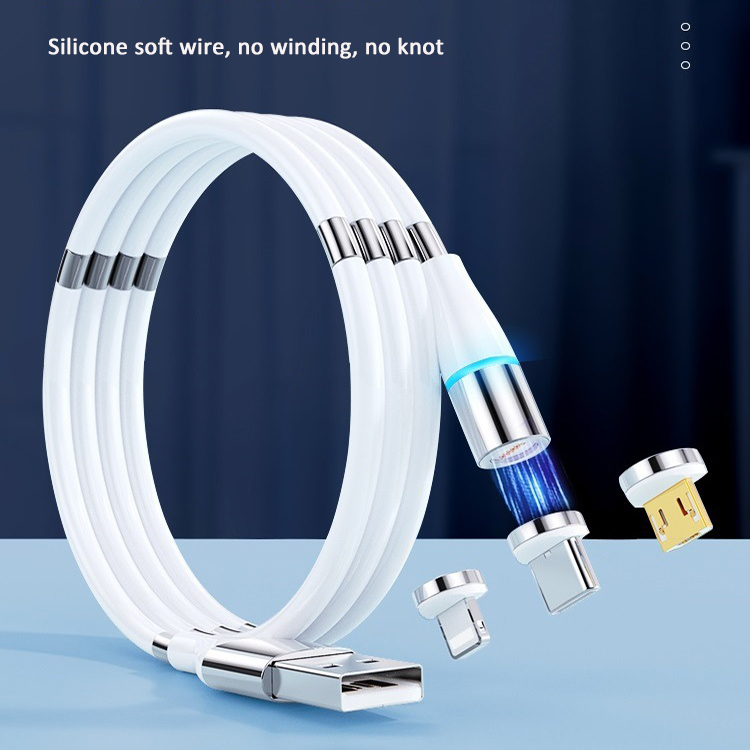 New Strong Supercalla 3 in 1 Magnetic Charging Cable Type C Micro 8Pin USB Cable Self Winding 3A Fast Charging Cable