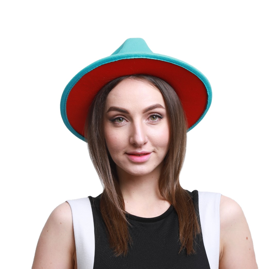 Wholesale High Quality Women Wide Brim Two Tone Fedora Hat New Color Matching Wool Felt Fashion Single Product Fedora Caps