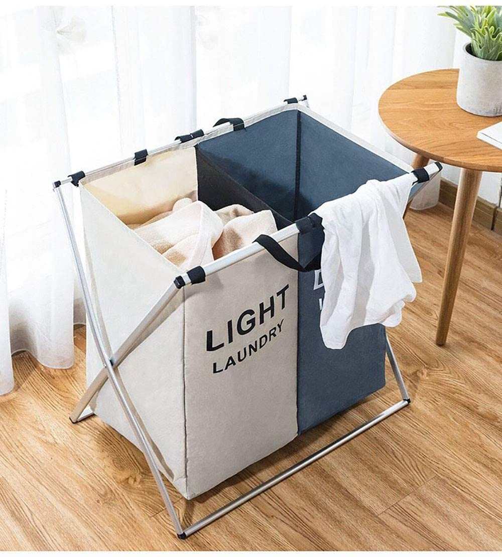 2 Section Extra large laundry storage baskets Hamper Collapsible Washing Storage with Carrying Handle,Oxford Cloth Hamper