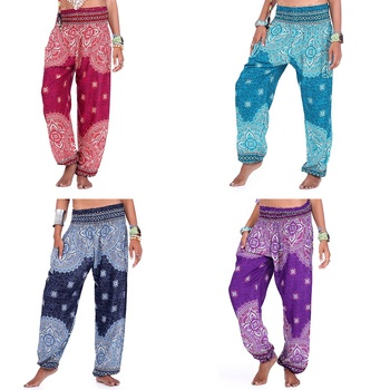 WISH hot style digital print seaside loose belly dance nationality wide leg pants travel yoga bloomers trousers