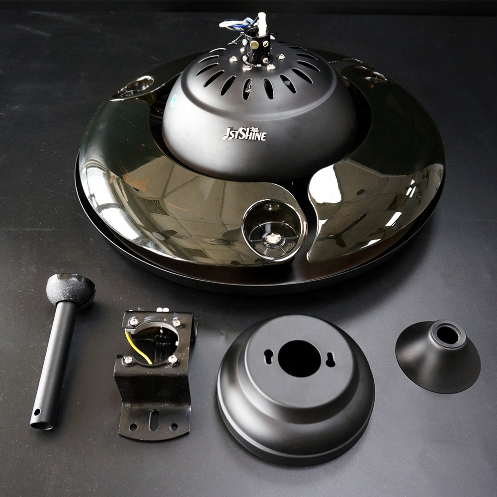 1stshine современный 42 дюймов Черный пульт дистанционного управления, Hi-Fi, и RGB диско dc выдвигающимися лезвиями из потолочный вентилятор с громкой связью