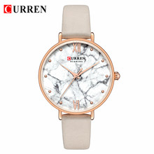 CURREN женские модные часы с мраморной текстурой циферблат с кожаным ремешком женские Аналоговые кварцевые наручные часы Relogio Feminino(Китай)