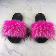 Bonjean/летние женские роскошные женские шлепанцы с искусственным лисьим мехом; Дизайнерские кожаные сандалии на плоской подошве; Повседневны...(Китай)