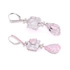 Pink Earrings Earrings Customize Fashion Women DIY Wedding Silver Jewelry Pink Gemstone Earrings Cubic Zirconia Dorp Earrings