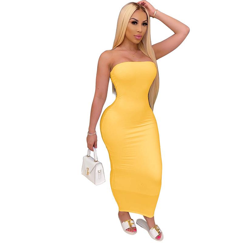 Лидер продаж, модные повседневные пикантные женские платья-трубы с высоким эластичным верхом