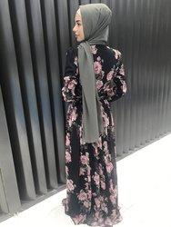 MOTIVE FORCE 2021 Long sleeve cuffs tighten V-neck cross folds lace design waist slim lace design printing Islamic muslim Dress