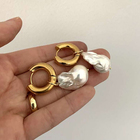 2020 New style 18K Gold Plated Stainless Steel Big Baroque artificial Freshwater Pearl Hoop Earrings