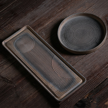 Japanese style coarse pottery tea tray handmade retro tea table saucer Porcelain minimalist water dry pour tea tray