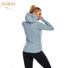 Sports Jacket Custom Sports Lady Coats Running With Side Pockets Women Stretchy Outerwear Skin Friendly Thumb Hole Coat Womens Yoga Jacket